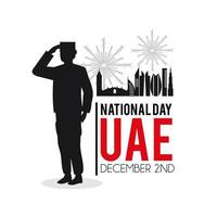 Bandiera della giornata nazionale degli Emirati Arabi Uniti con soldato