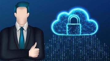 uomo d'affari e progettazione di cloud computing