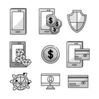 set di icone del settore fintech vettore