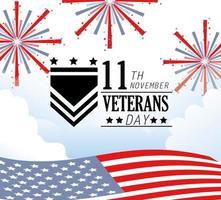 celebrazione del giorno dei veterani con fuochi d'artificio e bandiera