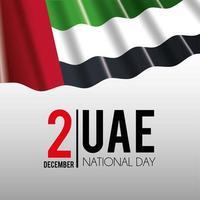 Bandiera degli Emirati Arabi Uniti con bandiera per celebrare la giornata nazionale
