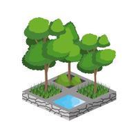 alberi isometrici e design della sorgente d'acqua