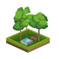alberi isometrici e icona della sorgente d'acqua
