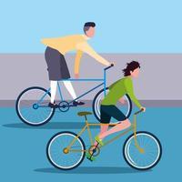 giovani uomini in sella a bici avatar personaggio vettore