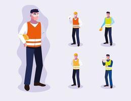 set di progettazione di lavoratori professionisti maschi