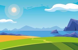paesaggio con icona di scena del lago vettore