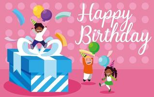 biglietto di auguri di compleanno con bambini piccoli che celebrano