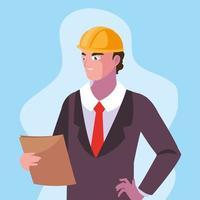avatar cartoon ingegnere uomo vettore