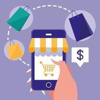 mano e smartphone con lo shopping online vettore