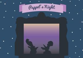Scena vettoriale di notte dei burattini
