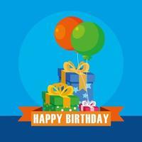 carta di buon compleanno con scatole regalo e palloncini elio