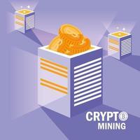 icone bitcoin di crypto mining vettore