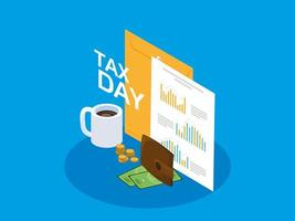 giorno delle tasse con busta di manila e icone del mondo