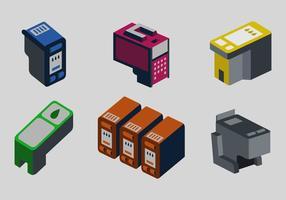Illustrazione di vettore della stampante a colori della cartuccia dell'inchiostro