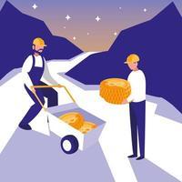 team worker crypto mining bitcoin vettore