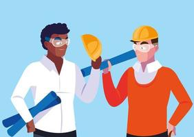 avatar cartoon ingegnere uomini vettore