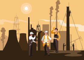 scena dell'industria petrolifera con pipeline di impianti e lavoratori vettore