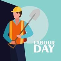 celebrazione della festa del lavoro con operaio edile vettore