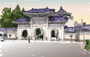schizzo a colori di un paesaggio urbano asiatico