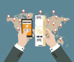 concetto di prenotazione online per biglietti aerei vettore