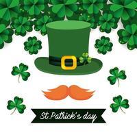 st. patrick day banner con un cappello a cilindro