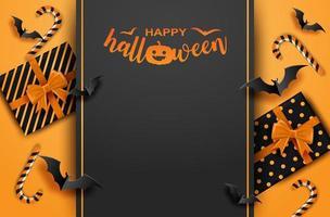 felice halloween con confezione regalo e pipistrelli.