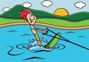 Ragazzo che gioca sci d'acqua nel lago vettore