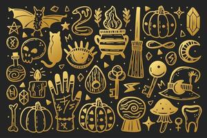 set di elementi di halloween d'oro