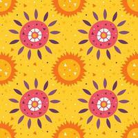 piccolo sole carino e fiore sul modello giallo