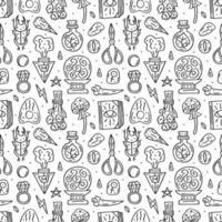 modello senza cuciture disegnato a mano di doodle di stile della linea di stregoneria