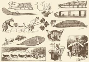 Seppia Illustrazioni invernali vintage vettore