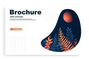 concetto di web o brochure con foglie arancioni e blu