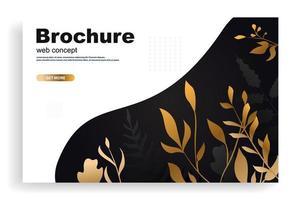 concetto di web o brochure con foglie d'oro