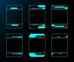 tecnologia futura interfaccia hud set di frame verticali