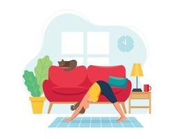 donna che fa yoga a casa vettore