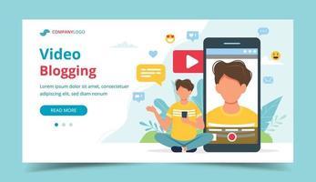 video blogger sul modello di pagina di destinazione dello schermo dello smartphone