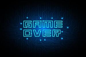 circuito game over sul design tecnologico vettore