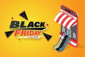 venerdì nero acquisti online sul banner mobile