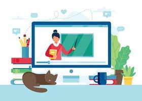 schermo con insegnante femminile e lavagna, lezione video