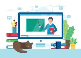 schermo con insegnante e lavagna, lezione video