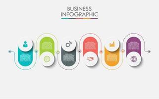 Infografica collegata colorata in 6 passaggi vettore