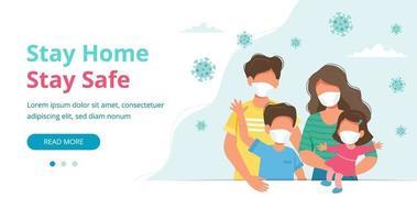 famiglia che indossa maschere per il viso nella pagina di destinazione della quarantena