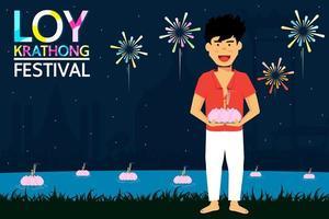 loy krathong festival design con uomo che tiene la candela