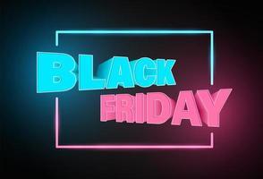 banner di testo e cornice al neon del venerdì nero