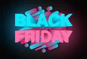 modello di progettazione di banner al neon venerdì nero