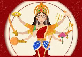 Durga In Sfondo Rosso Con Grunge vettore