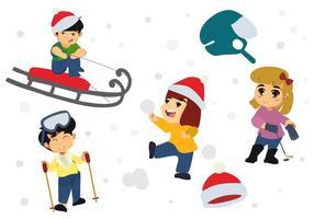 Bambini felici liberi che giocano nel vettore di stagione invernale