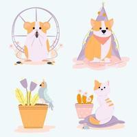 collezione di animali domestici in stile cartone animato vettore