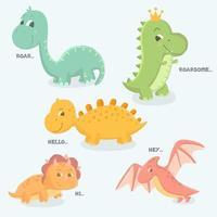 insieme disegnato a mano sveglio del dinosauro del bambino vettore