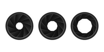 set di diaframmi della fotocamera realistici vettore